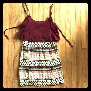Maroon ruffle top print dress